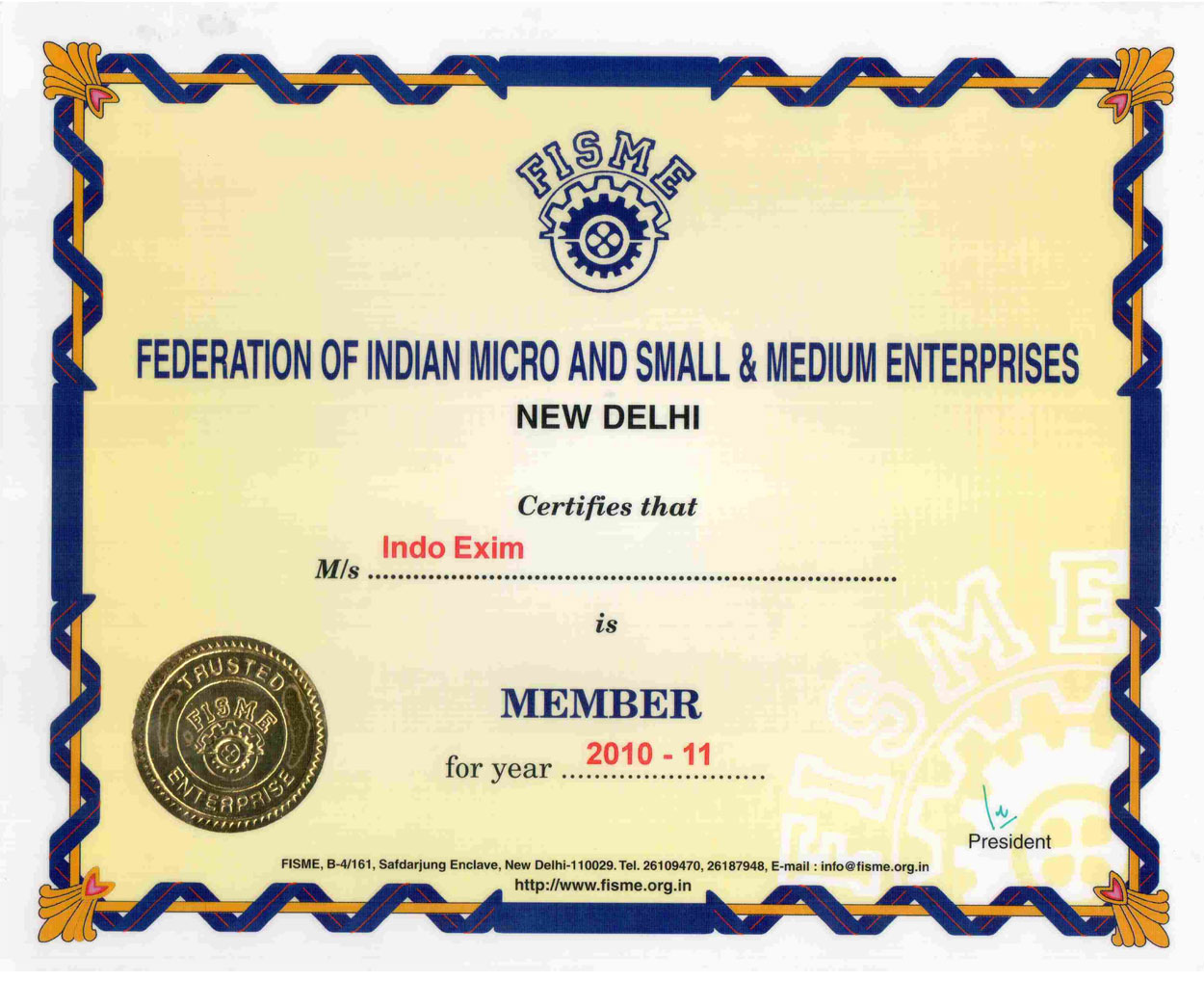 Contact Indo Exim Us Company Profile Ambala Ac Dc Low Voltage Power Supply In Cantt Haryana India Certificate